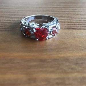 Jewelry - Darling Silver Heart Ring with Synthetic stones